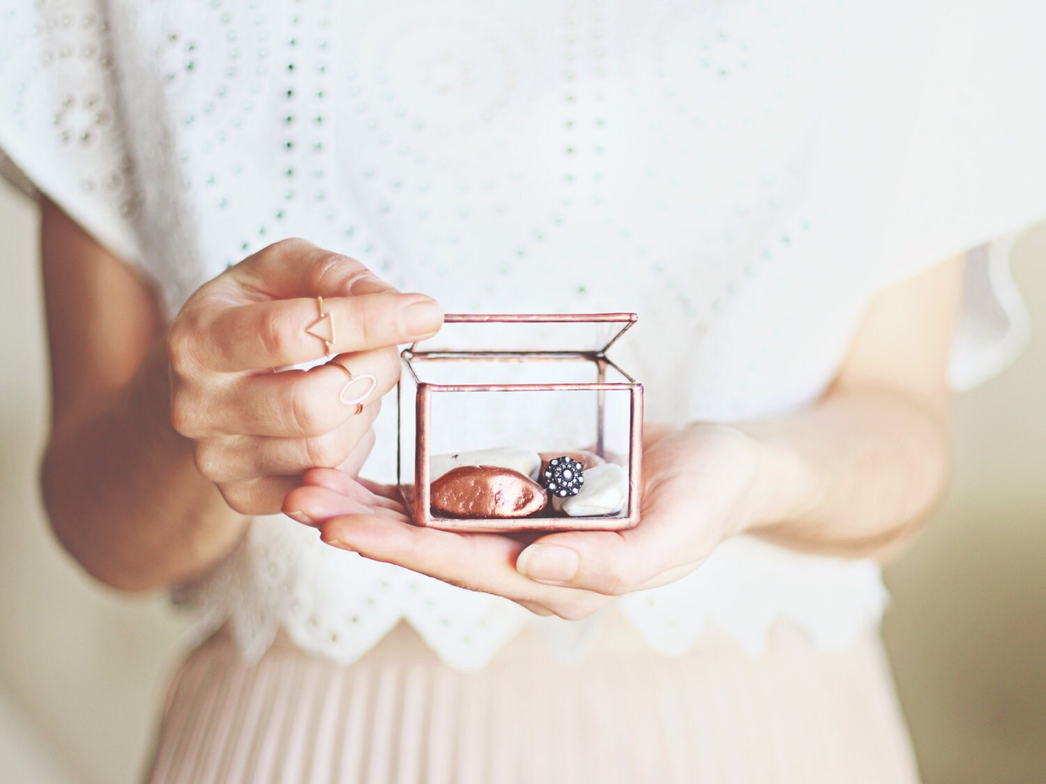 Ring Bearer Box, Wedding Band Box, Glass Box, Engagement Ring Box, Glass Ring Box, Rose Gold Jewelry Box, Copper Ring Pillow Alternative