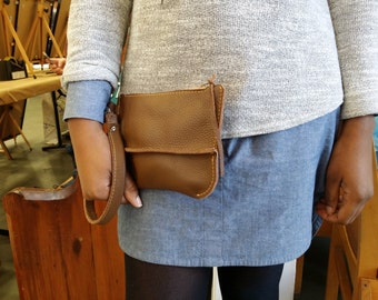 Leather handbag - Leather bag Italian leather Cappuccino - Leather Wristlet Bag - Leather Clutch by Valentina.