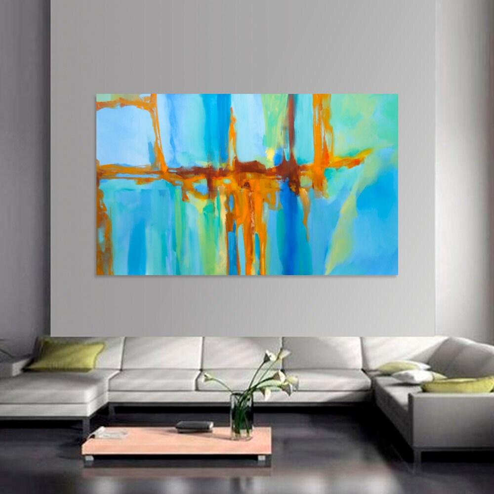abstract painting turquoise blue green orange moderne original. Black Bedroom Furniture Sets. Home Design Ideas