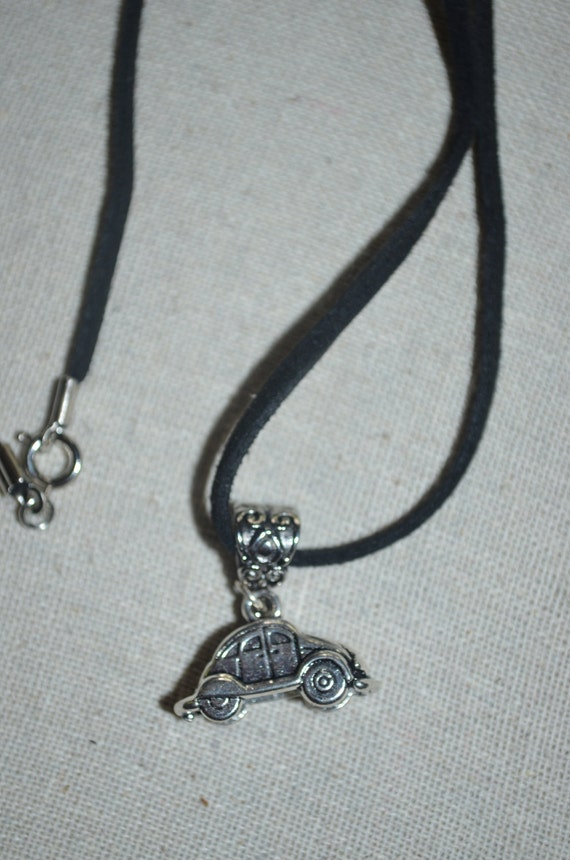 Necklace VW on Leather Cord, Volkswagen Charm on Black Cord, VW Beetle Charm Necklace, CW Bug Necklace