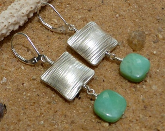 Chrysoprase Earrings Hill Tribe Silver Artisan Gemstone Jewellery Sterling Silver Leverback Designer Earrings Australian Gemstone