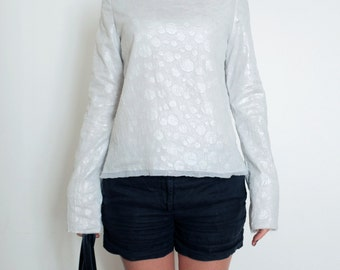 Cotton Top - White and Silver Shirt - Oversized Sleeves - Double Layer Top - Distressed Clothing - Frayed Top - Fresh Blouse - Boat Neckline