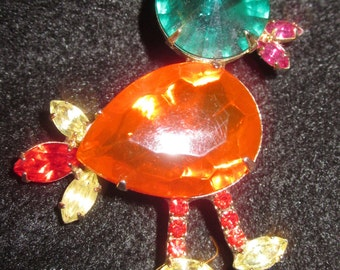 Vintage Rhinestone Bird Pin/Brooch