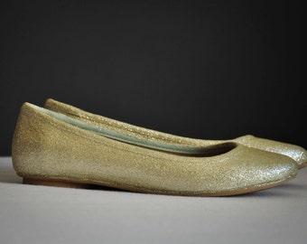 Wedding flats Ivory wedding flats Ivory glitter flats Champagne ballerinas Wedding shoes Low heels flats ivory ballerinas SIZE 8.5