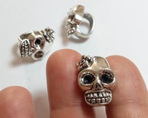 2pcs Sugar Skull Slider Beads Antique Silver Spacer Day Of The Dead Metal Jewelry Findings Supplies - B23088