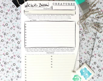 Writer's Block Creatures Booklet | Pack of 6 | A6 size, 8 pages | Creatures Template | Develop your Creatures | Author & Writer's Tool