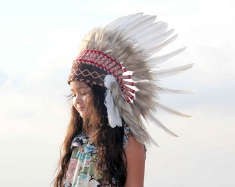 ON SALE Brown and white kids indian headdress replica , short length, kids feather headdress native american inspired