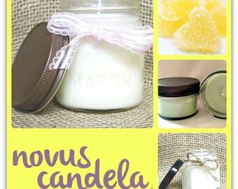 Mason Jar Candle - Soy Candle - Soy Scented Candle - Lemon Drops Candle - Homemade Candle - Jar Candle - Housewarming Gift - 4 or 8 oz