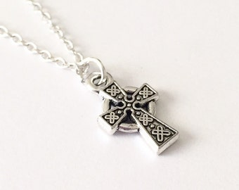 Silver Celtic Cross Necklace/Silver Cross Necklace/Celtic Cross Necklace/Tiny Celtic Cross Necklace