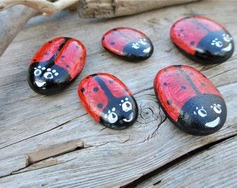 Hand Painted Pebble Bugs, Rock Art, Lady Bugs, Painted Pebbles, Beach Pebble Art, Painted Rocks