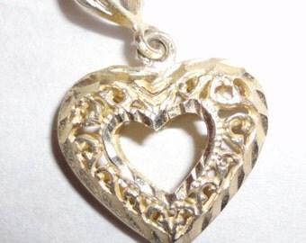 Sterling silver filagree heart