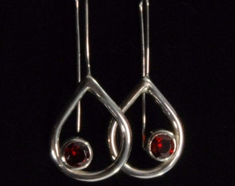 Teardrop Silver Drop Earrings with Bezel Set CZ