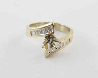 14k Yellow Gold Semi Mount Diamond Engagement Ring Size 5 1/2 0.42 carat