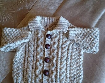 Hand knitted Jacket and bobble hat for baby boy