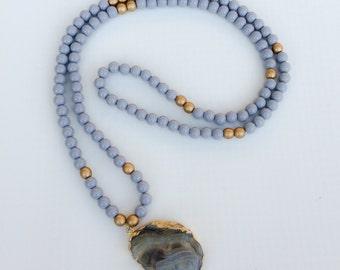 Grey Druzy Stone Necklace, Beaded Necklace