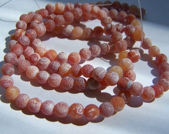 Matte Crab Fire Agate beads 6mm 15 inch strand