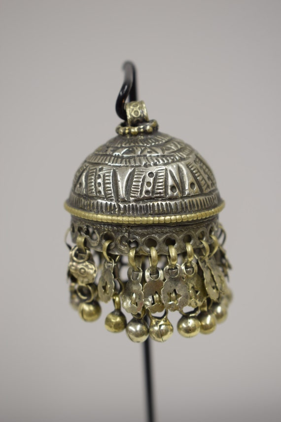 Pendant  Silver Brass Large Kuchi Bell Middle East Handmade Necklace Jewelry Belly Dancing Unique Kuchi Bell