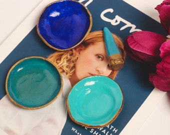 The Blue Edit - Set of 3 Blue Toned Ring Dishes & Ring Cone With Gold Detail