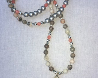 Gorgeous Beaded  Necklace with Shell Pendant.  Elegant statement necklace.  Great spring/summer accessory!