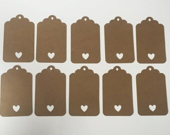 """Rustic Gift Tags With Heart (2"""" wide) - Blank Favor Tags"""
