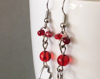 Heart earrings, red earrings, red dangle earrings, heart dangle earrings, red bead earrings, beaded earrings, valentine' day earrings