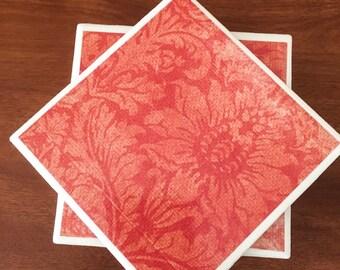 Orange tile coasters, flower coasters, ceramic tile coasters, tile coasters, coaster set, table coasters