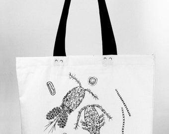 Planktonic love - hand screen printed cotton canvas tote bag