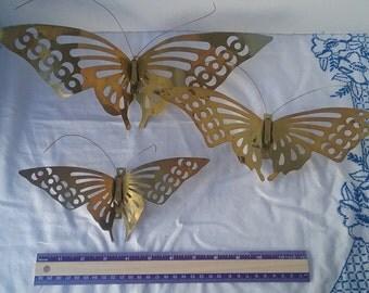 Vintage Brass Butterfly Decoration/ Set of 3