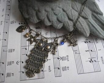 NEW!  Bronze Owl Necklace w/charms, Birthday, Steampunk