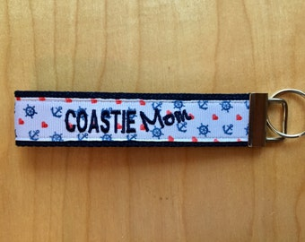 Key Fob: Coastie Mom / Coastie Wife  /  Coastie Girlfriend / Coastie Sister / Coastie Daughter/ Fiance Wristlet Keychain