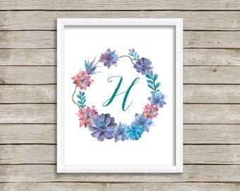 Letter H Printable, Nursery Monogram, Succulent Nursery, H Art, Letter Monogram, Floral Art Print, H Print, Instant Download, Succulent Art