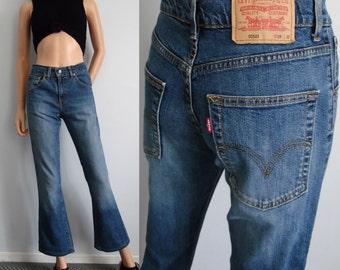 Levis 525 jeans, high waisted, flared bootleg, blue denim pants trousers, stretch, waist 29, leg 30