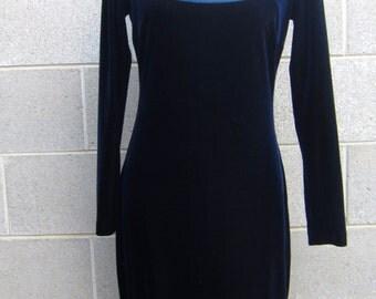 Vintage 90s navy crushed velvet super babe maxi dress