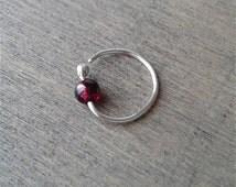 Garnet hoop earring, daith earring, hoop for cartilage piercing, silver helix earring, cartilage earring, upper ear earring, conch jewelry