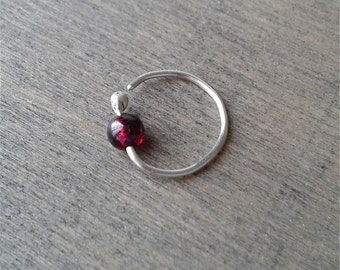 Garnet hoop earring, daith earring, hoop for cartilage piercing, silver helix, cartilage, upper ear earring, 20 gauge 18 gauge conch jewelry