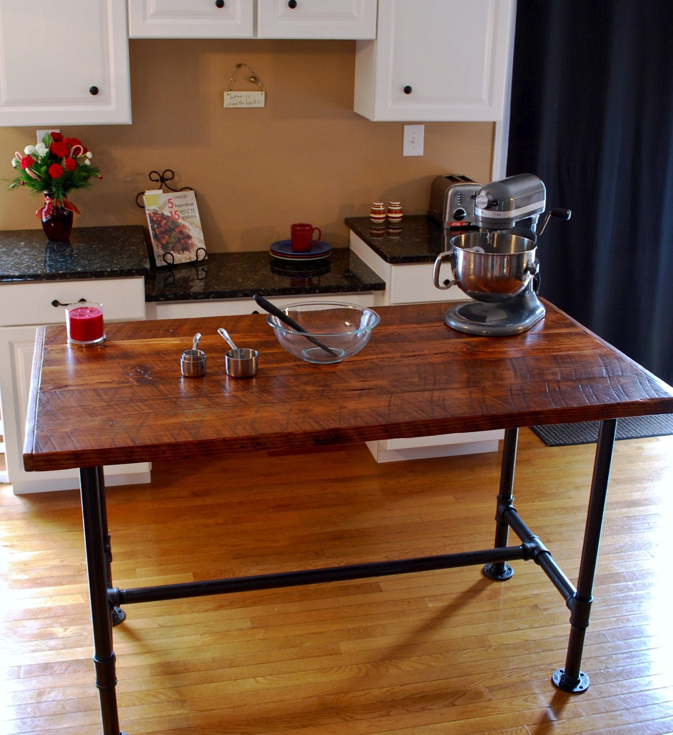 Industrial kitchen island industrial pipe table kitchen prep for Modern kitchen table