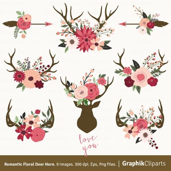 Romantic Floral Deer Horn. Deer Horn Rustic Wedding