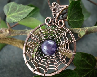 Trailer, copper, viking knit, wire work, Amethyst