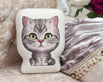 Cat pillow - tabby cat shaped pillow, cat art, cat decor