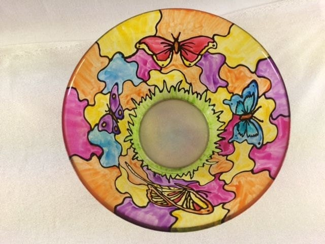 Hand Painted Glass Bowl With Butterflies