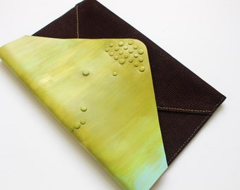 On Sale. Hand painted leather clutch, olive green clutch, Leather clutch bag