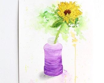 Affordable art, Original Watercolor Painting 9x12'', Sunflower watercolor, still life painting, Watercolor art, Wall art