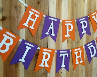 Purple and Orange Happy Birthday, High Chair Banner