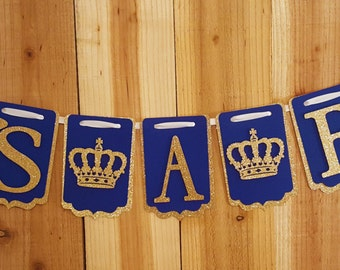 It's A Boy Banner with Crowns Optional, Navy and Gold Glitter, Royal Baby Shower Banner, Boy Baby Shower Decoration