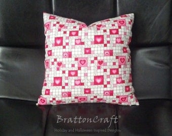 Valentine's Day Decor - Valentine Pillow Cover - Valentine Crossword Pillow Cover - Pink Pillow Cover - Sweetheart Pillow Cover - Epsteam