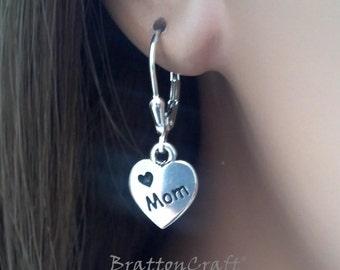 Love Mom Heart Earrings - Mom Heart Earrings - XOXO Earrings - Heart Earrings - Silver Heart Earrings - Epsteam