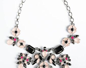 Flower Statement necklace, light pink necklace, bib necklace, rhinestone necklace, crystal necklace, bridesmaid necklace, wedding necklace.