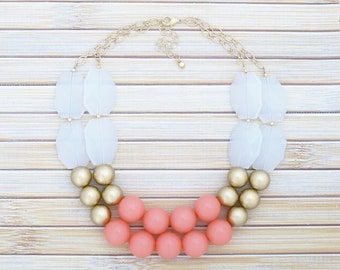Coral & Gold Chunky Large Bead Necklace - Big Costume Fashion Bib Necklace - Double Layer Strand Color Block Necklace w Silver or Gold Chain