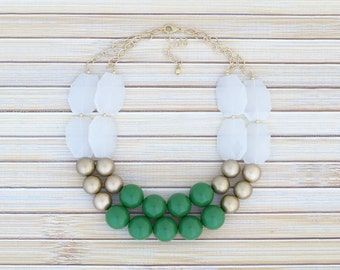 Green Chunky Necklace - 2 Strand Big Gold Choker Collar Bubble Necklace - Colorblock Crystal Bead Layering Necklace, Affordable Jewelry Gift