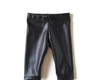 Leather baby leggings, faux leather baby clothes, vegan leather baby leggings, black leather baby pants, trendy baby clothes